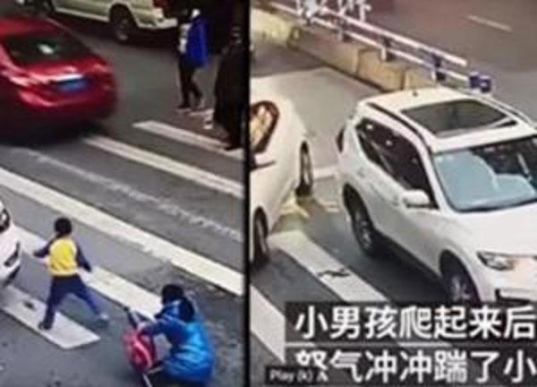 Мальчик устроил погром автомобилю, который сбил его маму на пешеходном переходе