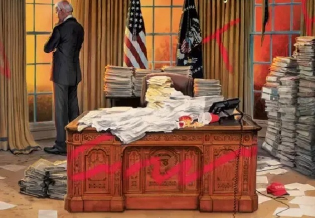 Time поместил на обложку разгромленный Овальный кабинет и Байдена