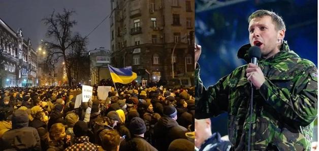 На митинге под ОП Парасюк отобрал шлем у силовика