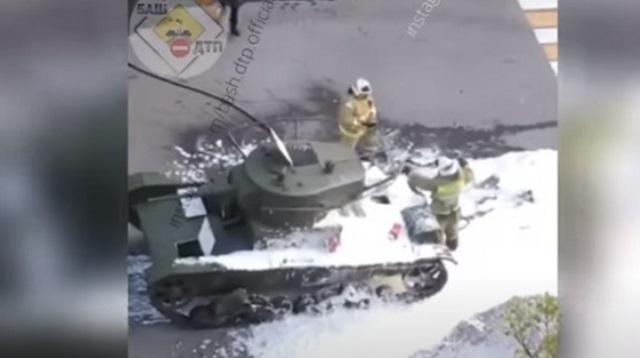 Появилось видео загоревшегося танка на репетиции парада в Уфе
