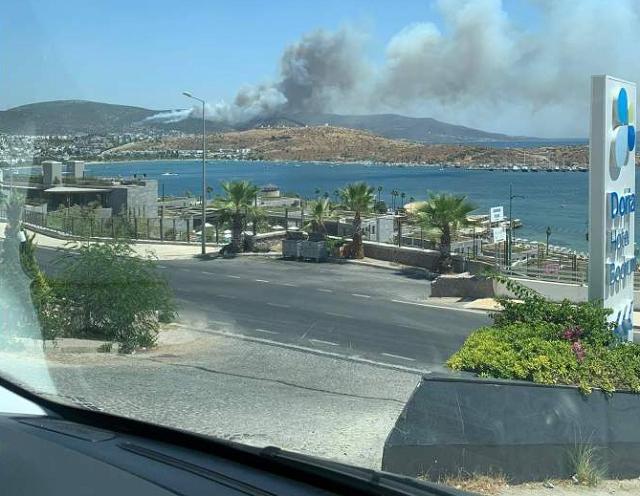Уже локализованный пожар вновь набирает обороты в Бодруме