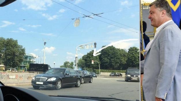 Кортеж Петра Порошенко объезжает пробки по встречке