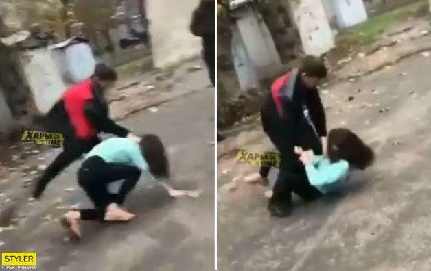 В Харькове школьник устроил жестокую драку с девушкой