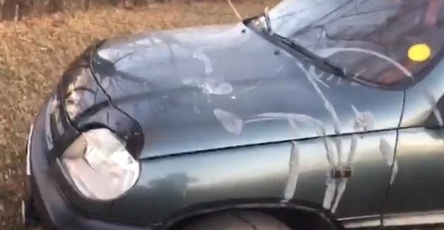 В Харьковской области неизвестные облили кислотой авто замначальника отдела пограничной службы